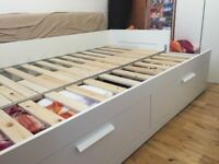 White ikea daybed, single bed, king size bed when open. FREE DELIVERY