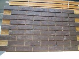 18 BRICK-TILE-PANELS NF540 colour Brown Deep Pitted, each panel 138.5x74.5cm (WxH) 1.03m2.