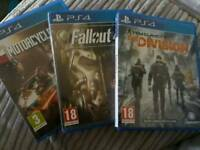 PS4 GAMES, FALLOUT 4, DIVISION & MOTORCYCLE CLUB