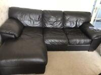 Brown Leather corner Sofa Chaise And 2 Seater settee From DFS