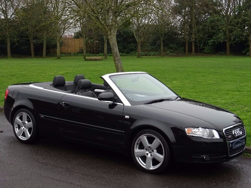 2007 07 audi a4 cabriolet 2 0 tdi s line 2dr convertible red roof full black leather in. Black Bedroom Furniture Sets. Home Design Ideas