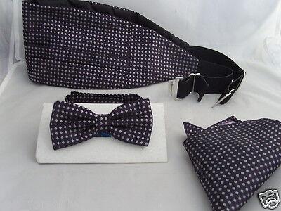 (15) Purple/Lilac-Tiny Diamonds Shapes-Silk Mens Bow Tie + Cummerbund & Hanky Set)