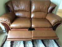 Double brown leather recliner sofa and chair