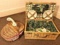 A New Picnic Wicker Hamper Basket, for 4; with a hand basket.