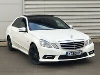 2010 60reg Mercedes-Benz E Class 2.1 E250 CDI BlueEFFICIENCY Sport 4dr white **PAN ROOF**