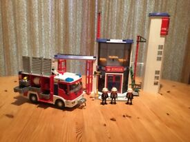Playmobil Firestation and Fire Engine