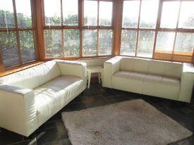 2 double leather sofas cream