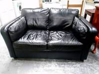 Black leather 2 seater sofa in great condition