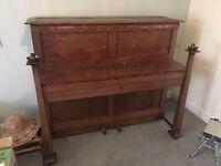 Antique Oak Arts & crafts piano Wilson, Peck & Co