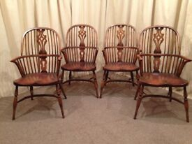 4 Antique Windsor Armchairs With Crinoline Stretchers - Matching Set Farmhouse Chairs - See Delivery