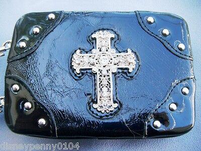 BLACK Rhinestone Cross MINI Flat Wallet-Patent Leather-48