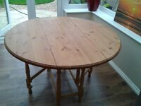 Bespoke, Unique, Large Round Solid Pine Drop Leaf Dining Table