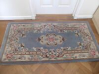 Chinese rug £12 reduced 100% wool dry cleaned L 152cm(60in) W 74cm (22in) blue pretty floral design