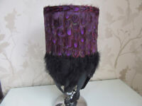 Pheasant Feather Lampshade Purple & Black Hand Feathered