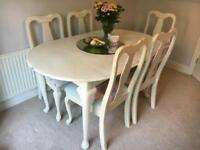 Shabby chic extendable table and 6 chairs