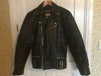 """Men's black leather biker/rocker jacket size 42"""""""