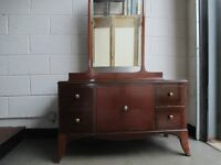 VINTAGE MAHOGANY VENEER FOUR DRAWER DRESSING TABLE WITH MIRROR FREE DELIVERY