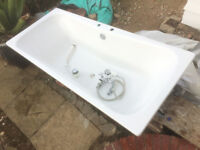 Weiss Steel Enamel Bath. VGC, 180x80x50cm with pop up waste. Front and side panel with posts.