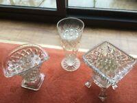 3 Vintage decorative glass flower vases
