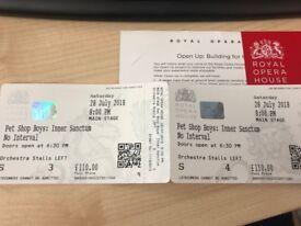 2 x tickets PET SHOP BOYS at Royal Opera House Sat 28 July - STALLS SEATS