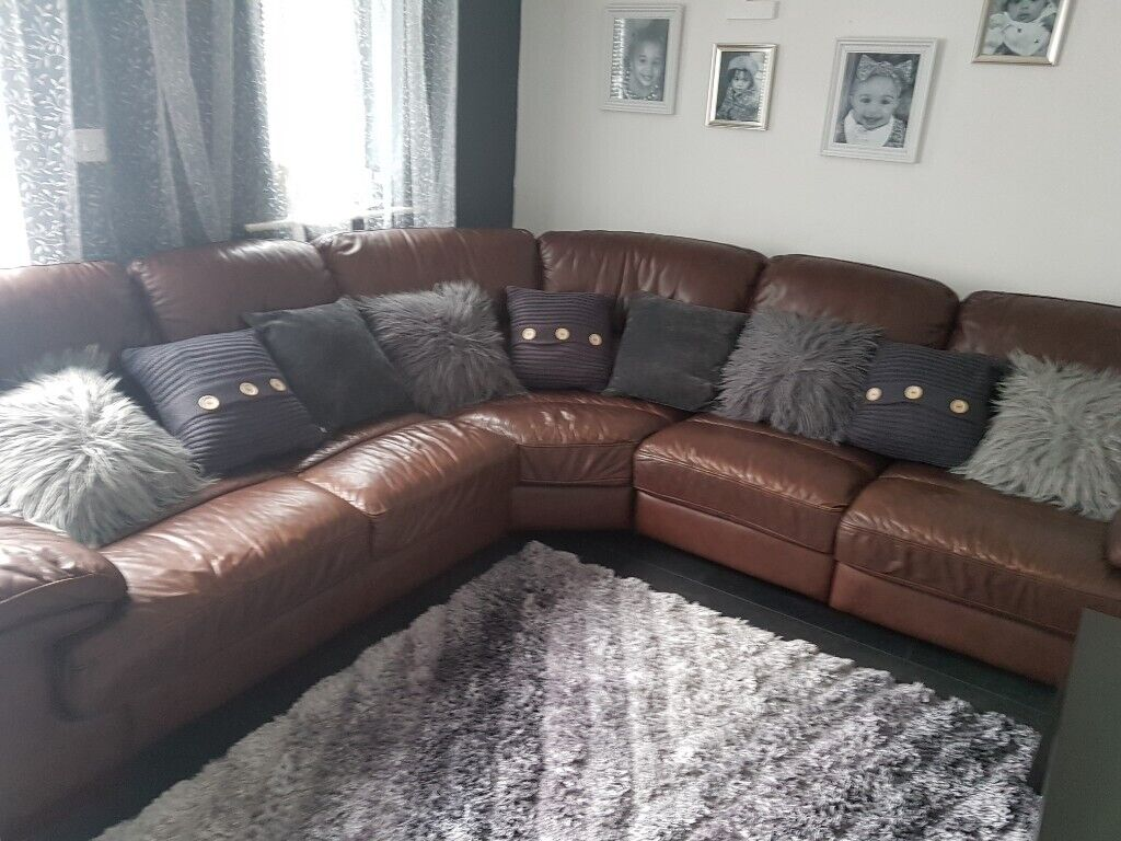 Real leather corner sofa | in Leeds City Centre, West Yorkshire | Gumtree