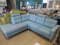 Scandinavian corner sofa with chaise-long and removable headrests. Duck egg blue.