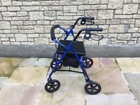 Blue mobility walking frame with seat