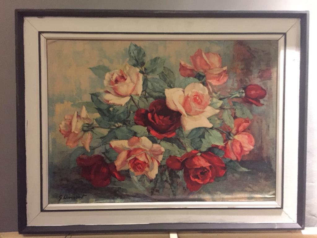 Mid Century Vintage GEORGES DANSET Roses Print Floral 1960s 1970s Retro Oil Painting Copy Mid