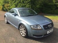 AUDI TT 1.8 QUATTRO 225 BHP 03 REG IN OCEAN BLUE WITH GREY LEATHER,SERVICE HISTORY AND MOT MAY 2018