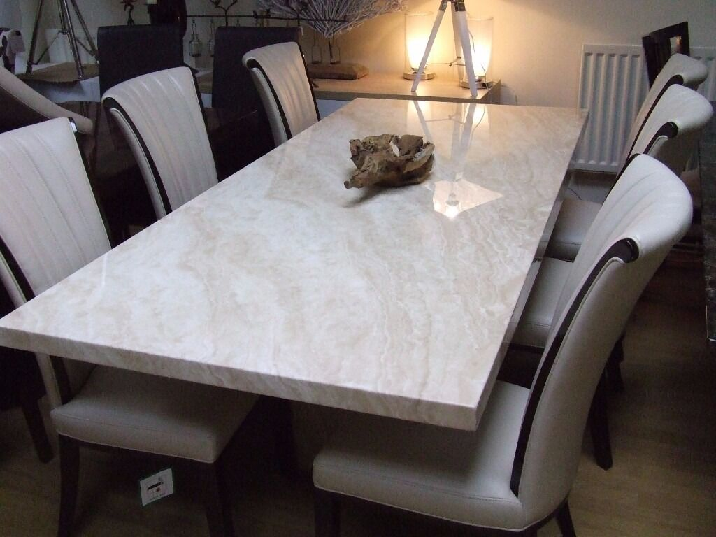 STUNNING CREMA MARBLE DINING TABLE & 6 ALPINE CREAM