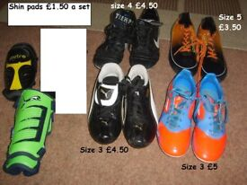 boys/girls/unisex football boots size 12 to size 4 shin pads £1.50