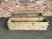 2 OF 6 X 1 WOODEN BEDDING PLANTER EX HOMEBASE STOCK