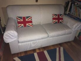 Laura Ashley two seater sofa in blue and white candy stripe cotton