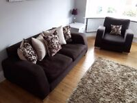 Brown 3 Seater Sofa with cushions & 1 Armchair both with chrome metal feet Smoke & Pet Free Home