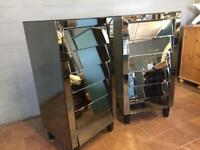 Two Tall Mirror Chest Of Drawers
