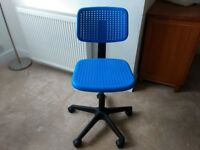 Blue swivel chair from IKEA