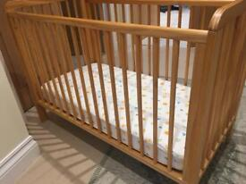 Wooden cot with mattress - adjustable drop down side