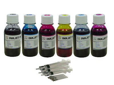 6x100ml Refill Ink For Hp02 Photosmart C7180 C7185 C7250 ...