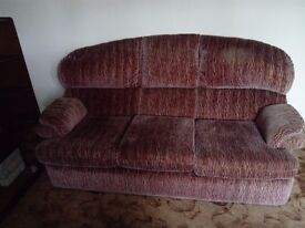 Brown Three seater sofa and two chairs