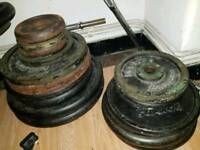 Fitness set Dumbbells, barbell, plates bench cast iron weights