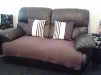2 Seater Brown Leather Reclining Sofa, great for project, customise