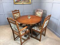 Old Charm Dining Table & 4 Chairs Round Extendable Table