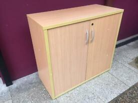 Beech office cabinet with key