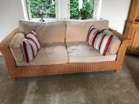 Two 2 seater rattan sofas, glass table and stand. From Marks & Spencer. Excellent condition.