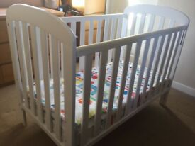 East Coast drop side cot with mattress..