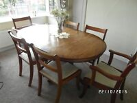 dining table & 6 chairs, vintage, extendable.