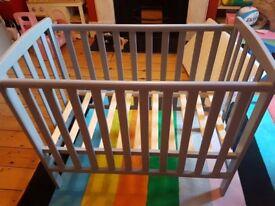 Petite grey cot and mattress