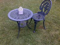 beautiful small alu-cast patio or garden table and chair can deliver