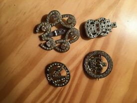3 brooches and 1 scarf pin diamante Letter M, guitar, and crown brooches,