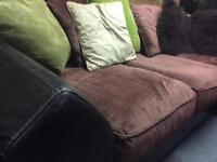 Brown Leather and fabric corner suite